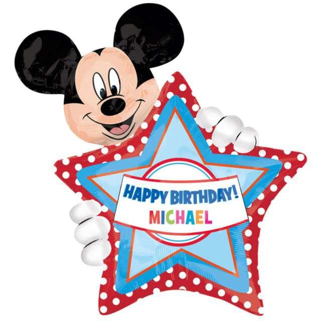 """Balon foliowy """"Happy Birthday Mickey + naklejki na imię"""", AMSCAN, 30"""" SHP"""