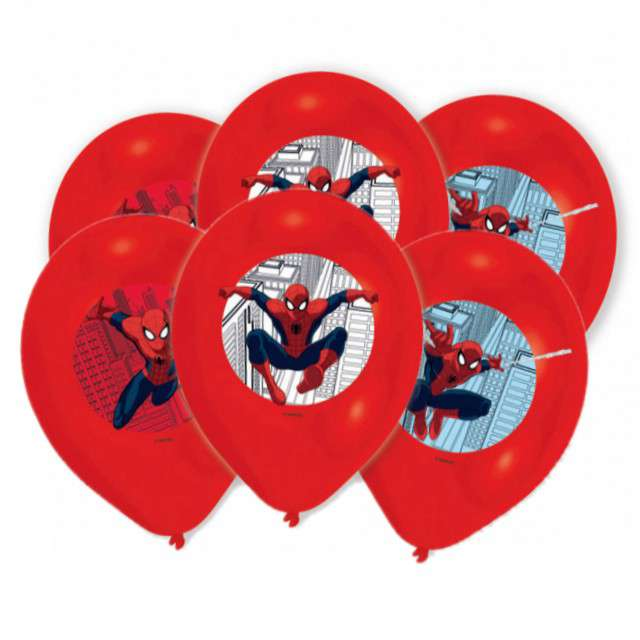 "Balony ""Spider-Man"", red mix, AMSCAN, 11"", 6 szt"