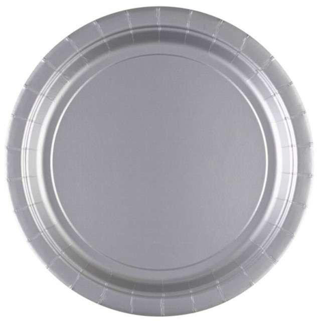 "Talerzyki papierowe ""Premium AMSCAN L"", srebrne, 22,8 cm, 8 szt"