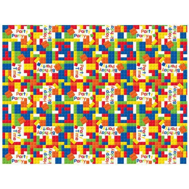 """Papier do pakowania """"Happy Birthday Klocki"""", UNIQUE, 76x213 cm"""