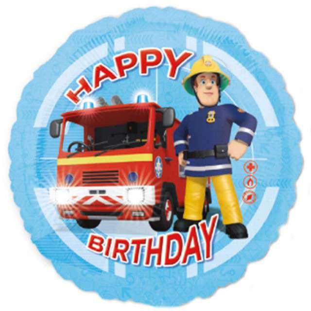 "Balon foliowy ""Strażak SAM Happy Birthday"", AMSCAN, 18"" RND"