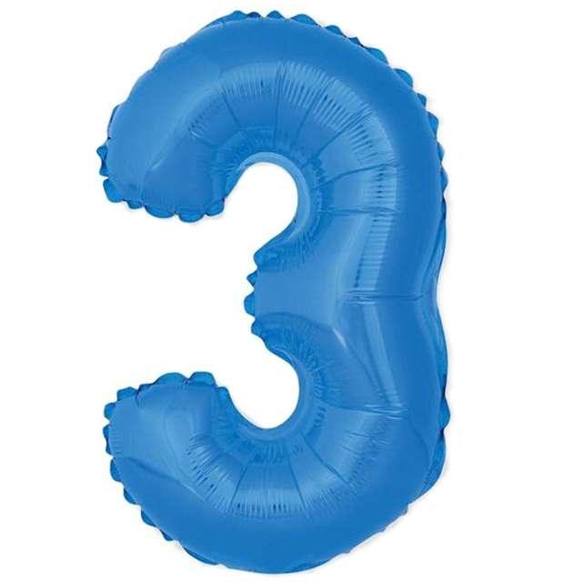 """Balon foliowy cyfra 3, 14"""", GoDan, niebieski"""