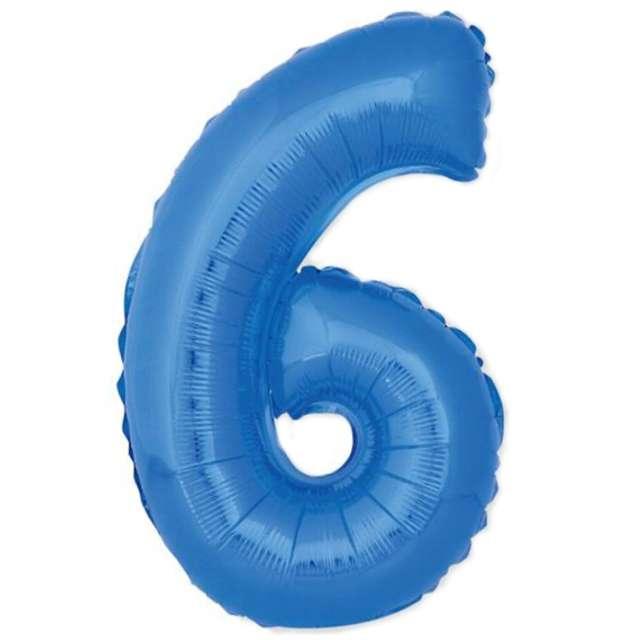 """Balon foliowy cyfra 6, 14"""", GoDan, niebieski"""