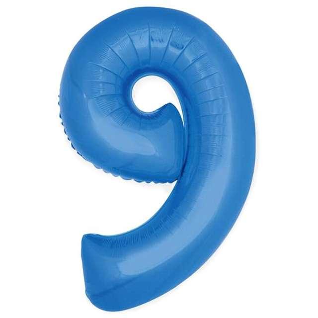 """Balon foliowy cyfra 9, 14"""", GoDan, niebieski"""