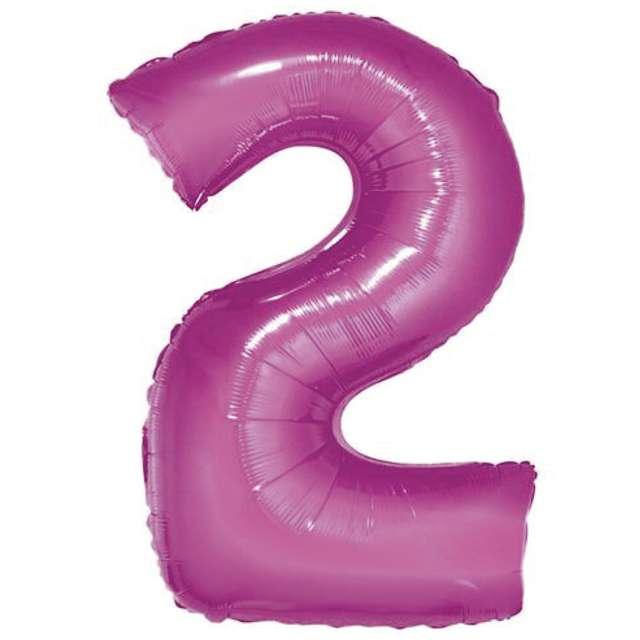 """Balon foliowy cyfra 2, 14"""", GoDan, różowy"""
