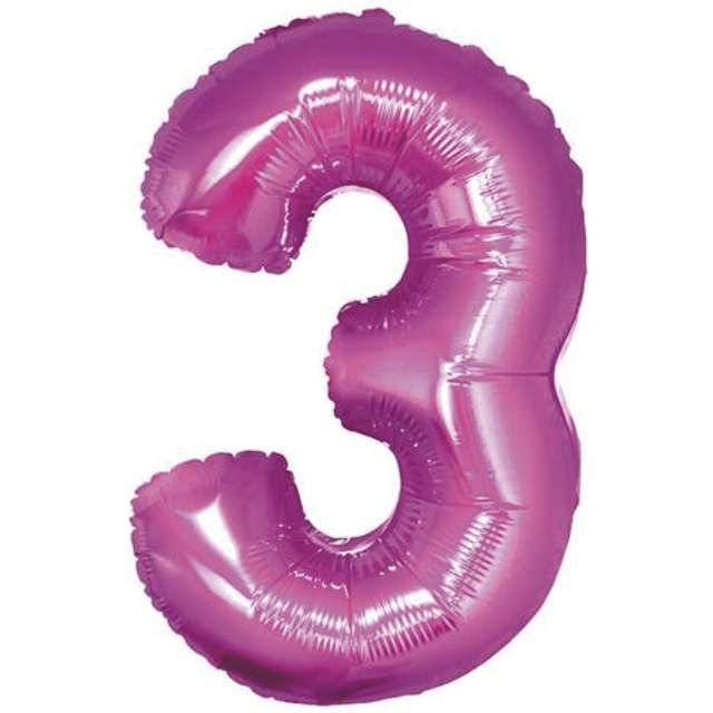 """Balon foliowy cyfra 3, 14"""", GoDan, różowy"""