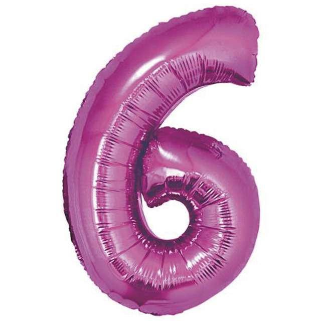 """Balon foliowy cyfra 6, 14"""", GoDan, różowy"""
