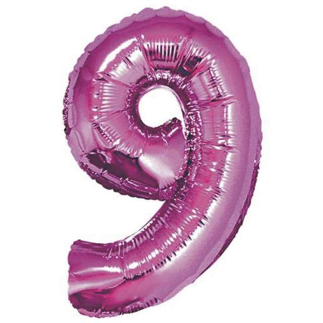 """Balon foliowy cyfra 9, 14"""", GoDan, różowy"""
