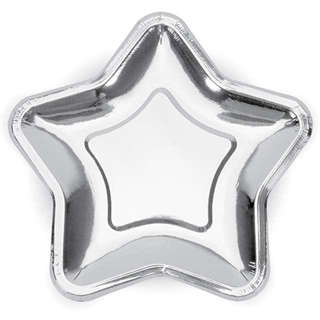 """Talerzyki papierowe """"Gwiazdki"""", srebrne chrom, 18 cm, 6 szt"""