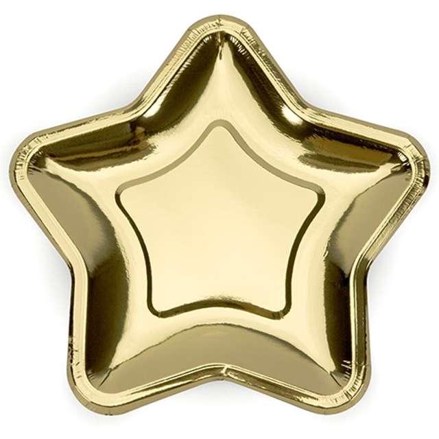"""Talerzyki papierowe """"Gwiazdki"""", złote chrom, 18 cm, 6 szt"""