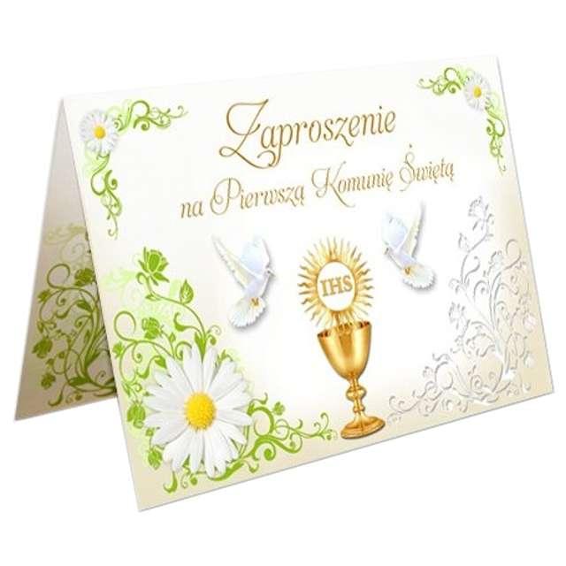 """Zaproszenia na Komunię """"Margaretka ornament"""", VIPER, 10 szt"""