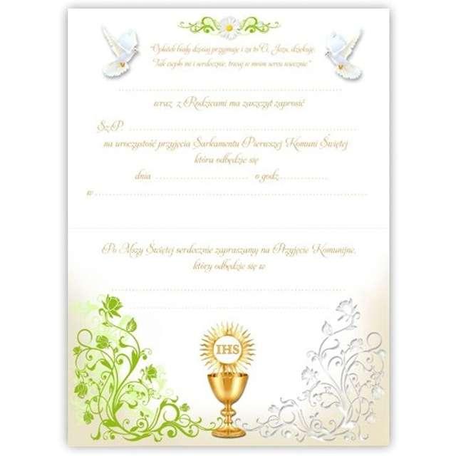 Zaproszenia na Komunię Margaretka ornament VIPER 10 szt