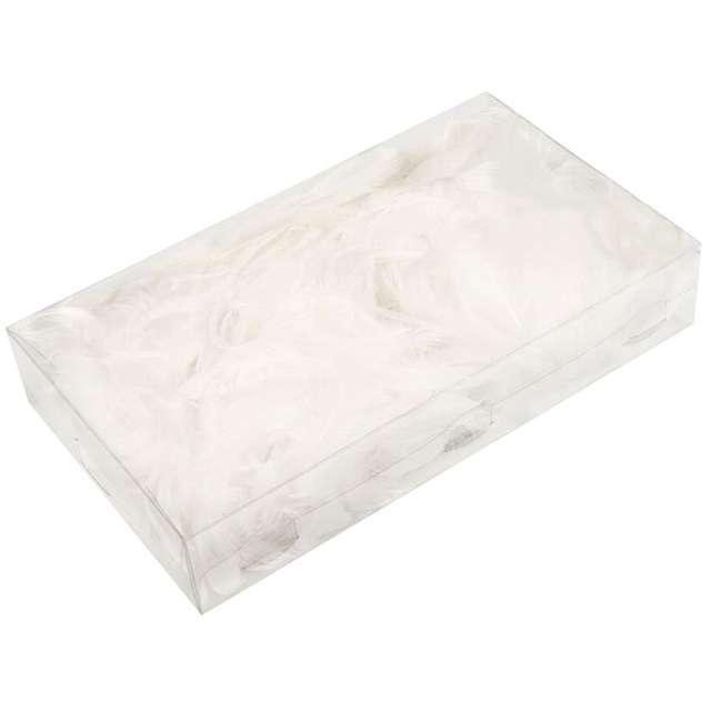 Piórka dekoracyjne, białe, pudełko