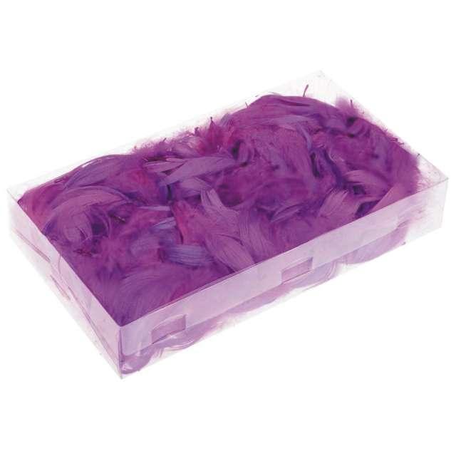 Piórka dekoracyjne, fioletowe, pudełko
