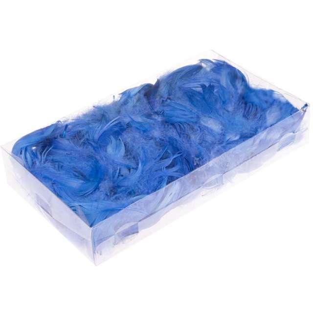 Piórka dekoracyjne, niebieskie, pudełko