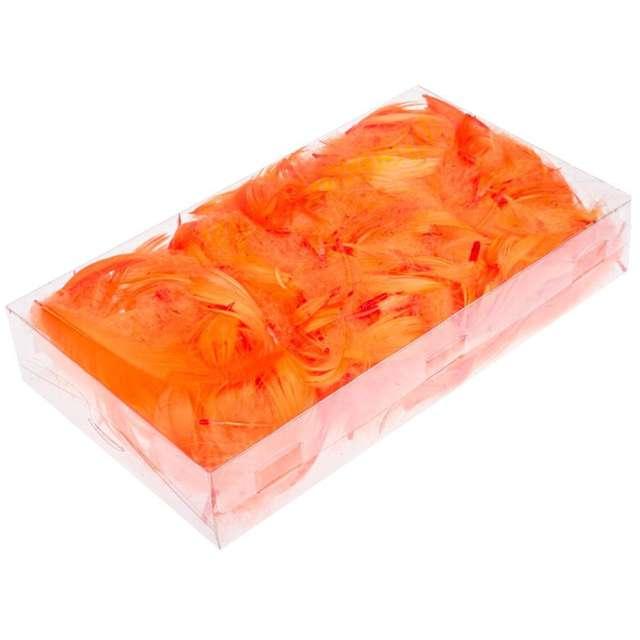 Piórka dekoracyjne, pomarańczowe, pudełko