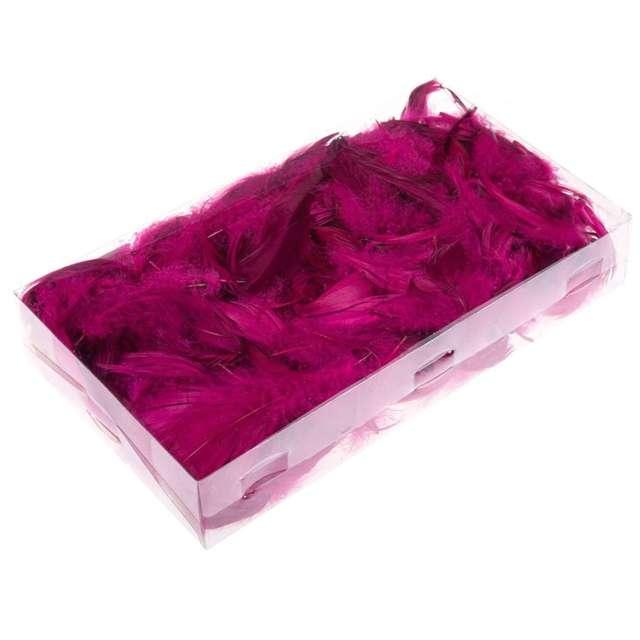 Piórka dekoracyjne, purpurowe, pudełko