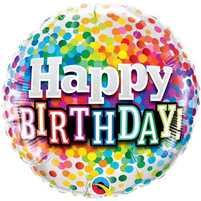 """Balon foliowy """"Happy Birthday Rainbow Confetti"""", QUALATEX, 18"""" RND"""