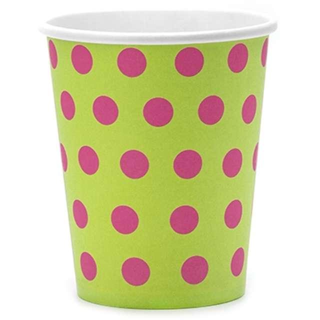 """Kubeczki papierowe """"Classic kropki"""", zielone jabłuszko, 200 ml, 6 szt"""