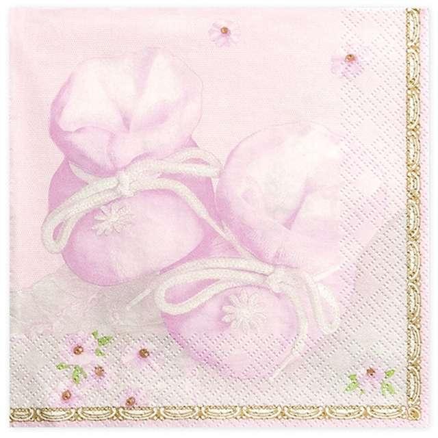 """Serwetki """"Buciki"""", różowe, 33 cm, 20 szt"""