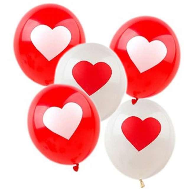 """Balony """"Serce"""", mix czerwony i biały, BELBAL, 11"""", 5 szt"""