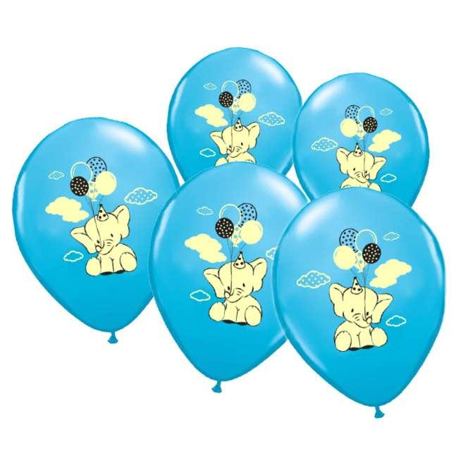 """Balony """"Słonik"""", BELBAL, błękitne, 5 szt"""