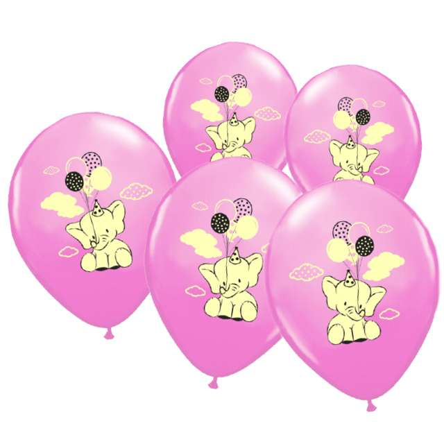 """Balony """"Słonik"""", BELBAL, różowe, 5 szt"""