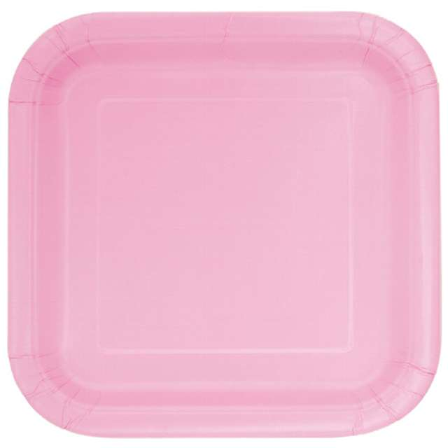 """Talerzyki papierowe """"Kwadrat Classic S"""" różowe jasne, 18 cm, 16 szt"""