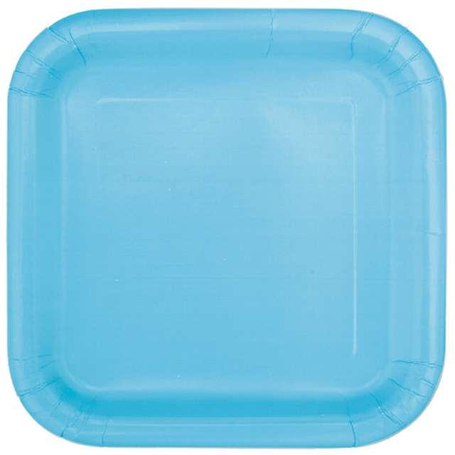 """Talerzyki papierowe """"Kwadrat Classic S"""", błękitne, 18 cm, 16 szt"""