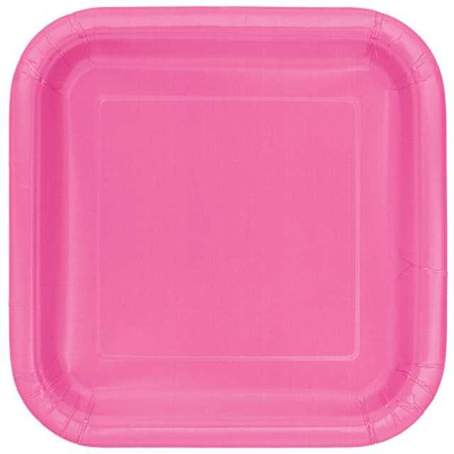 """Talerzyki papierowe """"Kwadrat Classic S"""", różowe, 18 cm, 16 szt"""