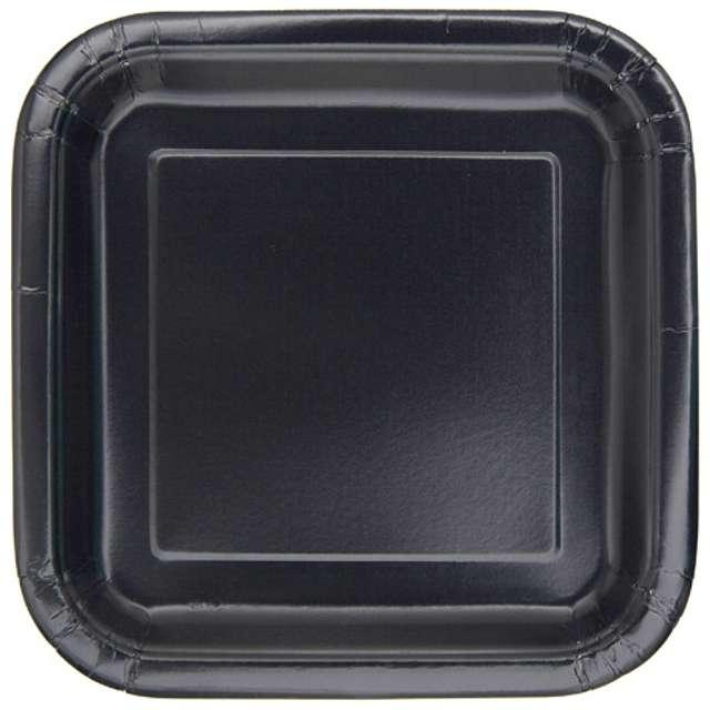 """Talerzyki papierowe """"Kwadrat Classic S"""", czarne, 18 cm, 16 szt"""