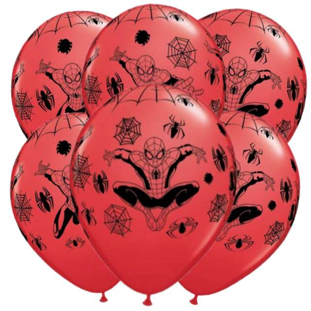 """Balony """"Spider-Man"""", czerwone, QUALATEX, 12"""", 6 szt"""
