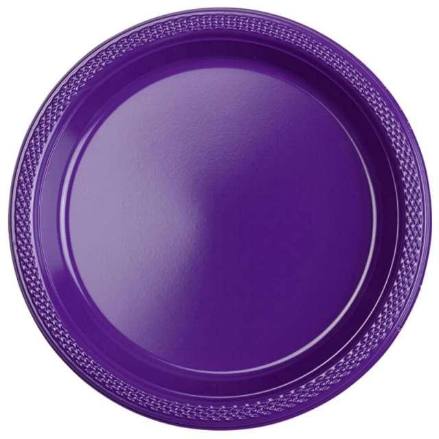 """Talerzyki plastikowe """"Amscan M"""", fioletowe, 17,7 cm, 10 szt"""