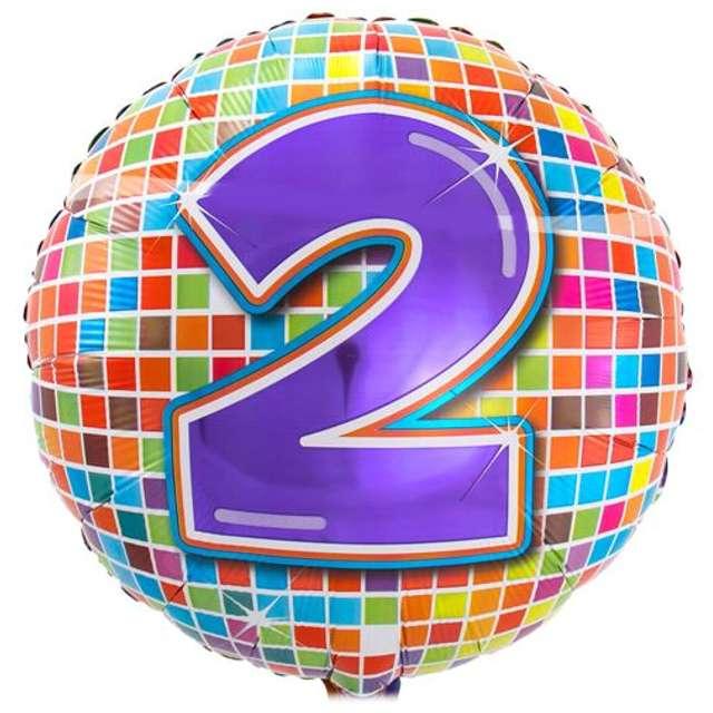 """Balon foliowy """"Kula dyskotekowa - liczba 2"""", FOLAT, 18"""" RND"""