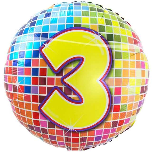 """Balon foliowy """"Kula dyskotekowa - liczba 3"""", FOLAT, 18"""" RND"""