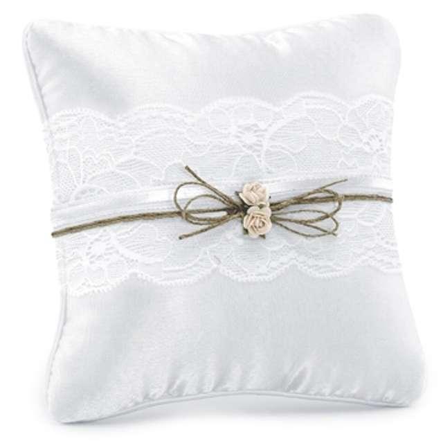 """Poduszka pod obrączki """"Jasnoróżowa różyczka z koronką"""", biała, PartyDeco, 16x16 cm"""