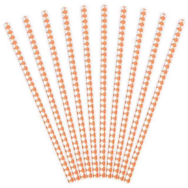 """Słomki papierowe """"Karo"""", pomarańczowe jasne, 10 szt"""