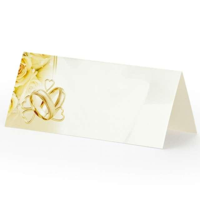"""Wizytówki na stół """"Złote obrączki"""", 4,5 cm x 10 cm, 25 szt"""