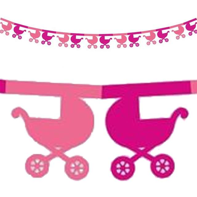 """Girlanda papierowa """"Wózki"""", różowa, 360 cm"""