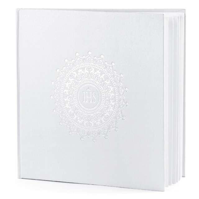 """Księga Gości """"Komunia IHS"""", biała, pusta, 20,5 x 20,5 cm"""