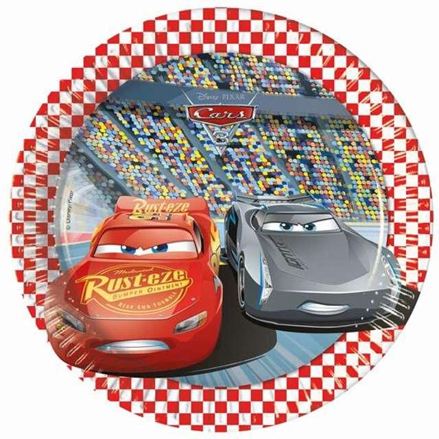 """Talerzyki papierowe """"Cars 3"""", 20 cm, 8 szt"""