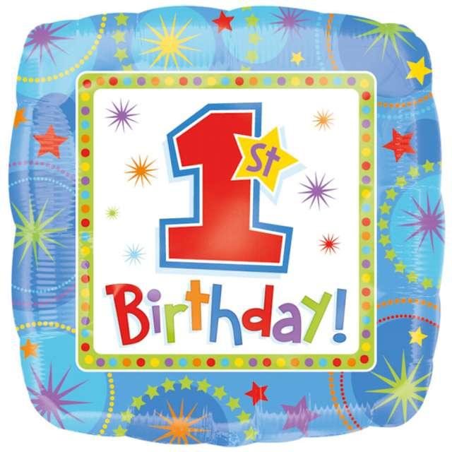 "Balon foliowy ""One-derful 1 Birthday"", błękitny, AMSCAN, 18"" SQR"