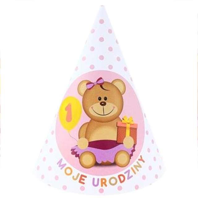 """Czapeczki papierowe """"Moje 1 Urodziny"""", różowe, 6 szt"""