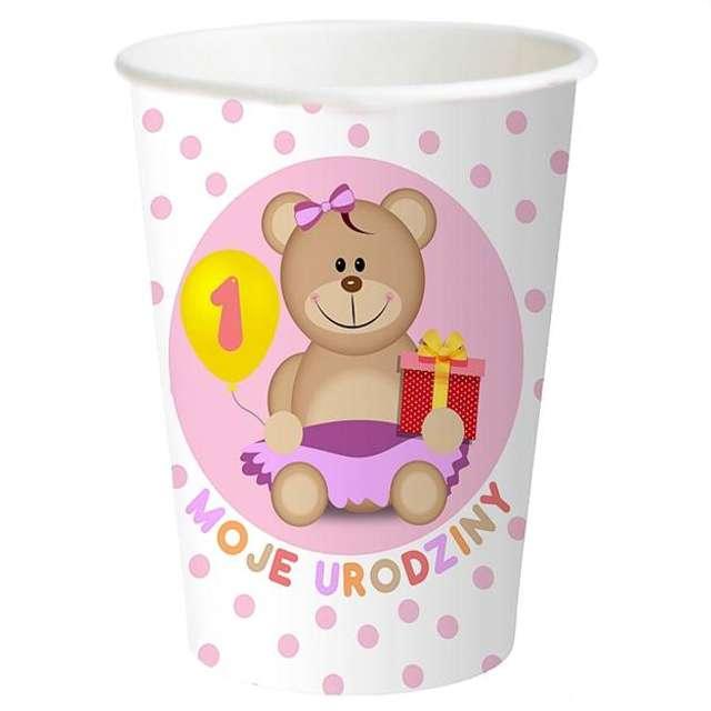 """Kubeczki papierowe """"Moje 1 Urodziny"""", różowe, 6 szt"""