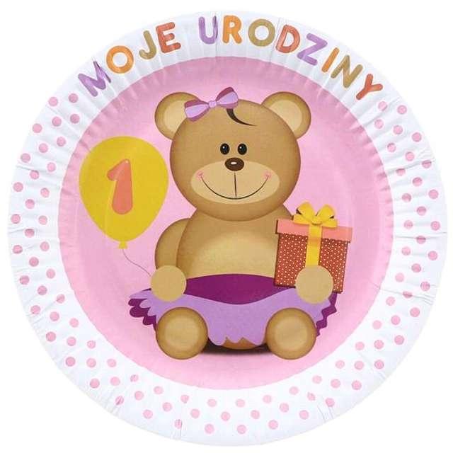 """Talerzyki papierowe """"Moje 1 Urodziny"""", różowe, 18 cm, 6 szt"""