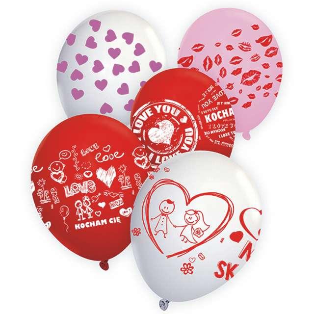 """Balony 12"""", """"Walentynki MIX"""", 5 szt"""