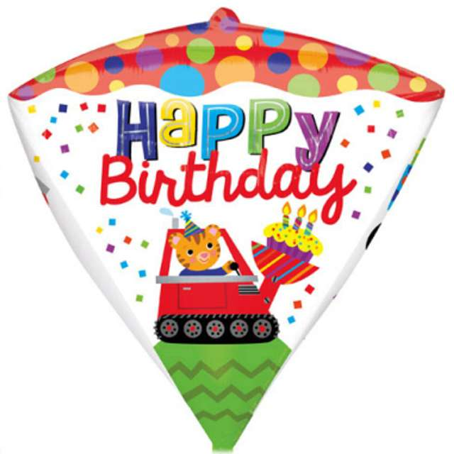 "Balon foliowy ""Happy Birthday Koparka"", AMSCAN, 17"" DMZ"