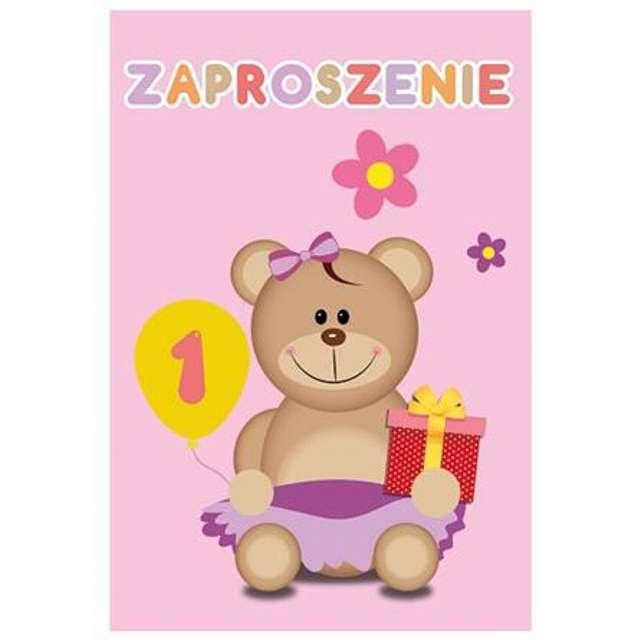 """Zaproszenia z kopertą """"Moje 1 Urodziny"""", różowy, Godan, 6 szt."""