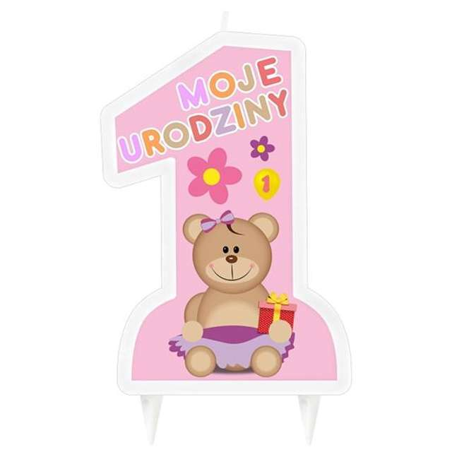 """Świeczka na tort """"1 - Mam Roczek"""", różowa, 10 cm"""