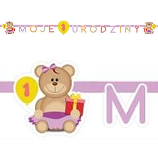 """Girlanda papierowa """"Moje 1 Urodziny"""", różowa, 190 cm"""